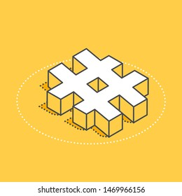 isometric vector icon on a yellow background, hashtag signe for social networks