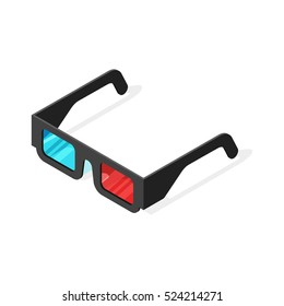 Isometric vector illustration of 3d glasses. Isolated on white background.