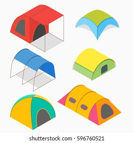 Isometric vector illustration of camping tents different types.