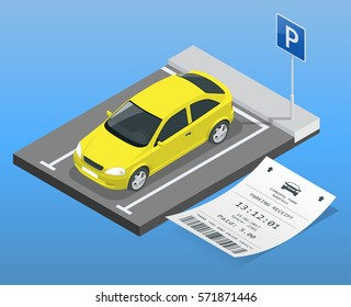 Isometric vector illustration Car in the parking lot and Parking tickets. Flat illustration icon for web. Urban transport. Accessibility