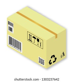 Isometric vector illustration of cardboard box with markings and shadows, on white background