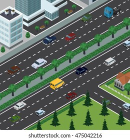 Isometric vector illustration of city in top perspective view, cars, roads, trees, buildings, cityscape, park.