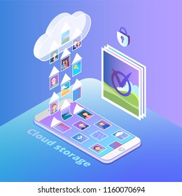 Isometric vector illustration with cloud service concept in gradient colors