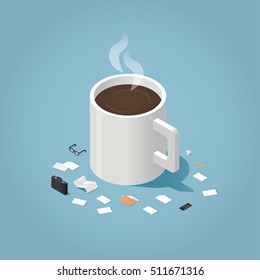 Isometric vector illustration of coffee break during working day concept. Big cup of hot coffee surrounded by small business man tools: paper, document, glasses, case, phone, pen, folder, stock rates.