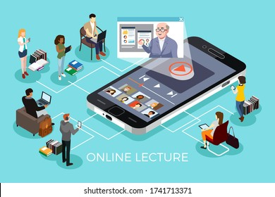 An isometric vector illustration of College Students Learning Online Education