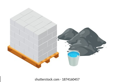 Isometric vector illustration concrete blocks and cement pile isolated on white background. Cinder blocks on wooden pallet colorful vector icon. Concrete brick in flat cartoon style. Building material