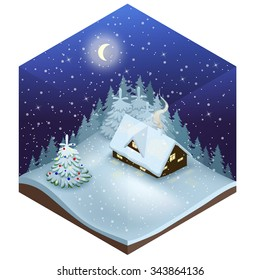 Isometric Vector illustration of a Cozy little cabin among snowy firs at snowfall night with fantastic big new moon. Dreamlike winter scene with snowfall and christmas tree.