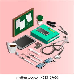 Isometric. Vector illustration of dental and medical instruments, coffe, phone, blackboard. Stomatology. Medical school.