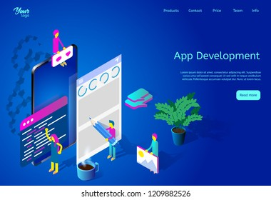 Isometric vector illustration depicting mobile app development process. Web page template suitable for web graphic design. Picture showing team of developers working on mobile application.