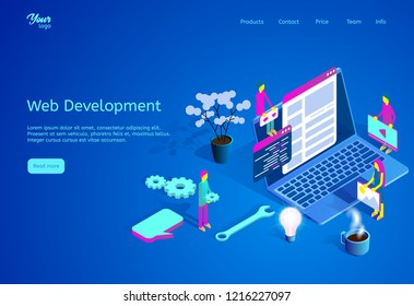 Isometric vector illustration describing web development process. Web page template suitable for graphic design. Picture showing team of developers and programmers working on website at the office.