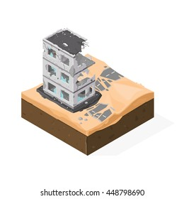 Isometric vector illustration of destruction and war in the Middle East. War and Desert Conflict.
