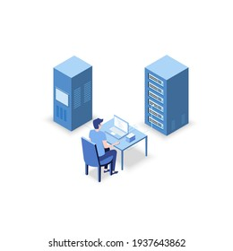 Isometric Vector Illustration diagnostic test in a server computer room. Server test in room. Servers being tested in room. Technology communication . Infographics Stick Figure.