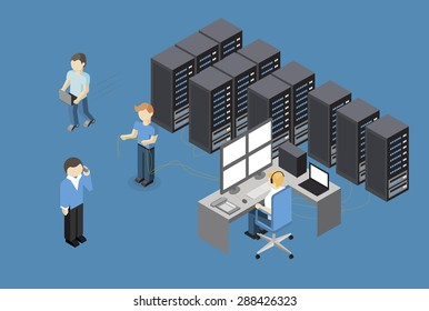 Isometric Vector Illustration diagnostic test in a server computer room. Server test in room. Servers being tested in room.  Technology communication . Infographics Stick Figure
