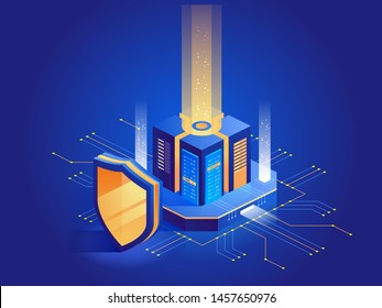 Isometric vector illustration of digital protection mechanism, system privacy. Data secure. Web crime or virus attack. Symbol of protection. Hacking concept.