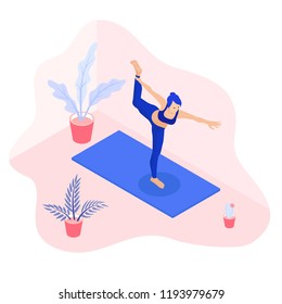 Isometric vector illustration of a fit yoga girl in a dancer pose asana surrounded by plants