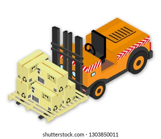 Isometric vector illustration forklift with set of cardboards the boxes with markings and pallet, with shadow, on white background