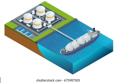 Isometric vector illustration gas tanker, flat design isolated on white background. Cargo ships. Oil, gas tanker. Container ship. LNG tanker