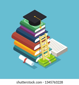 Isometric vector illustration of giant heap of books, ladder near it and square academic cap, certificate, diploma and other objects on top of it. Knowledge and reading concept.