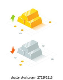 Isometric vector illustration of gold and silver bars, coins on white background. Gold and silver rate indicators with up and down arrows