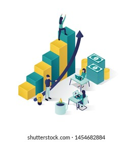 isometric vector illustration a group of people characters are preparing a business project start up. rise of the career to success, business isometric, business analysis