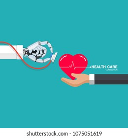 Isometric vector illustration, Health care connection concept. Protection health. Care medical.Doctor robot, person protecting the heart.Flat design style.