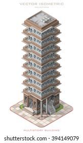 Isometric vector illustration icon representing multistory building.
