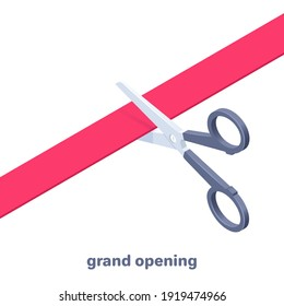 isometric vector illustration isolated on white background, scissors cut red ribbon, grand opening