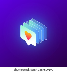 Isometric vector illustration of like icon with heart, app interface element. Lots of likes in social media, in a row, graphic concept of social media obsession and addiction. Trendy gradient style.
