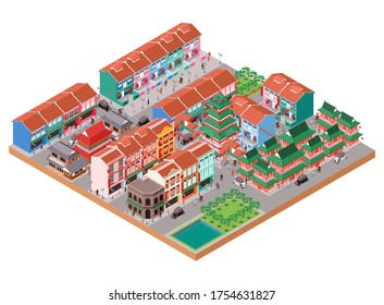 Isometric Vector Illustration Old China Town Area with Traditional and Colonial Buildings and the People Activities