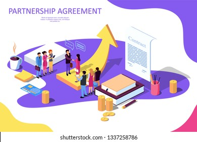 Isometric Vector illustration on white background. Concept for strategic partnership, crowdfunding, business success. Financing of creative projects. woman and man business handshake