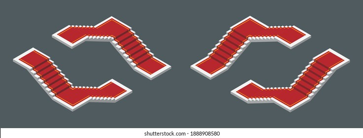 Isometric vector illustration realistic modern white staircases with red carpet isolated on dark background. Set of steps or stairs in different positions vector icons in 3d flat cartoon style.
