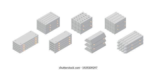 Isometric vector illustration reinforced concrete construction materials isolated on white background. Realistic construction ferroconcrete icons in flat cartoon style. Building material.