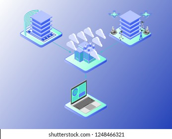 Isometric Vector Illustration Representing BIM Modeling Workflow or Scheme Using Gradient Style