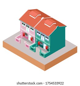 Isometric Vector Illustration Representing Colonial Living House Buildings in China Town Area
