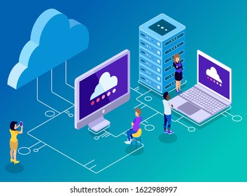 Isometric Vector Illustration Representing Computer Backup and Storage Technology, Clouds, Server, Laptop, and Connectivity