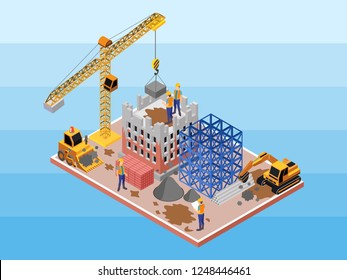 Isometric Vector Illustration Representing A Dirty Construction Site with Some Engineers, Workers, Builder, Backhoe, Crane, Brick, and Scaffolding