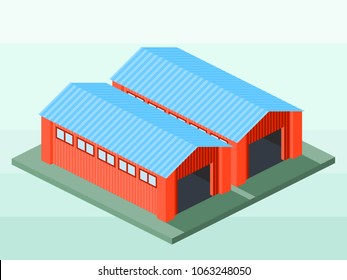 Isometric Vector Illustration Representing Factory Warehouse or Stockroom for Info Graphic and Map Using