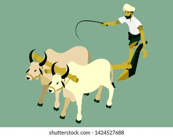 Isometric Vector Illustration Representing An Indian Farmer is Plowing a Field with Two Cows