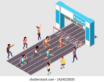 Isometric Vector Illustration Representing A Marathon Running Race with Several Across Gender Participants and a Number of Supporters Watching