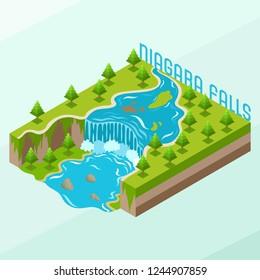 Isometric Vector Illustration Representing Niagara Waterfalls, Landmark of Ontario, Canada, New York, United States