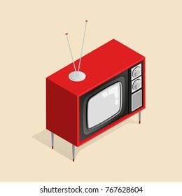 Isometric vector illustration of retro TV on legs with antenna.