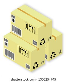 Isometric vector illustration set of cardboards the boxes with markings and shadows, on white background