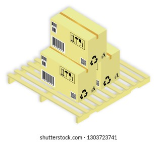 Isometric vector illustration set of cardboards the boxes with markings, on pallet, with shadow, on white background