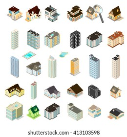 Isometric Vector illustration set of homes, hotels and apartments. Generic residential homes, hotels and renting accommodation properties. Houses, hotels and Apartments.