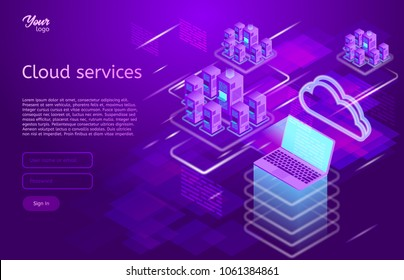 Isometric vector illustration showing the cloud computing services concept laptop and web servers.