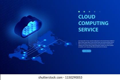 Isometrische Vektorgrafik, die Konzept-Cloud-Computing zeigt. Von der Wolke auf der Weltkarte. Weltes Cloud-Computing-Konzept. Web Cloud-Technologie-Geschäft. Internetdatendienste