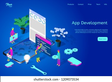 Isometric vector illustration showing mobile app development process. Developers working on application. Web page template suitable for web graphic design. Easy to ?ustomize and edit.