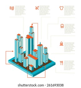 Isometric vector illustration of smartphone application with the city