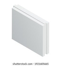 Isometric vector illustration wall gypsum board isolated on white background. Realistic construction block icon in flat cartoon style. Tongue-and-groove plaster plate. Building, construction material.