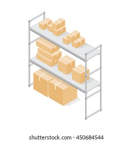Isometric vector illustration of Warehouse Storage shelves with cardboard boxes. Storage boxes on metal shelving. Storehouse, goods.